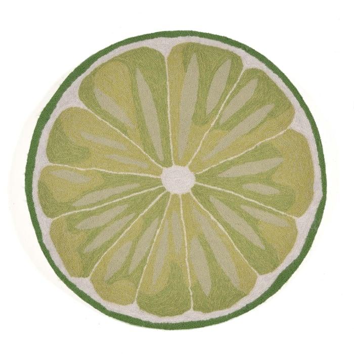 Lime Slice Indoor/Outdoor Rug Green 3' RD