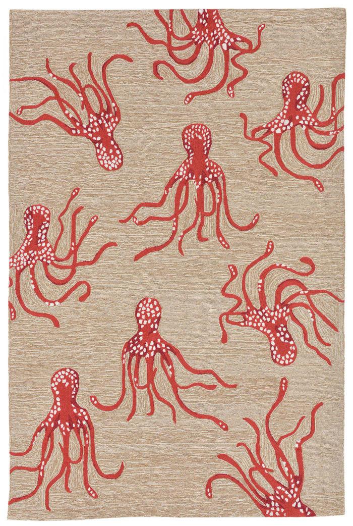 Octopus Indoor/Outdoor Rug Orange 5'X7'6