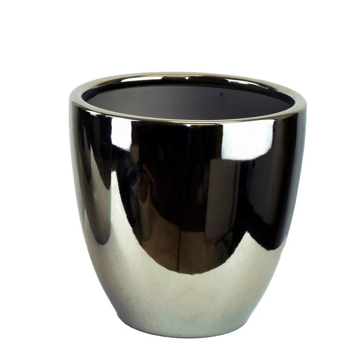 10 Inch Tall Chrome Ceramic Pot
