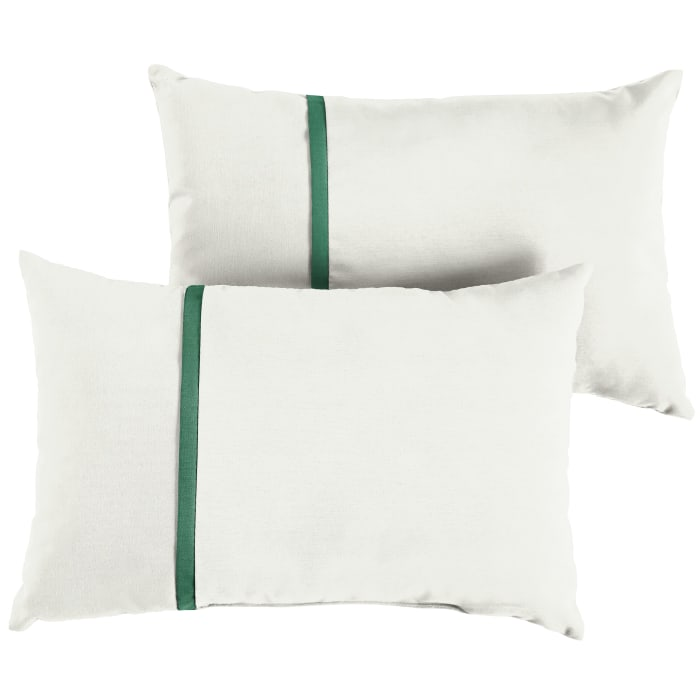 Sunbrella Small Flange Set of 2 in Canvas Natural with Canvas Forest Green Outdoor Pillows
