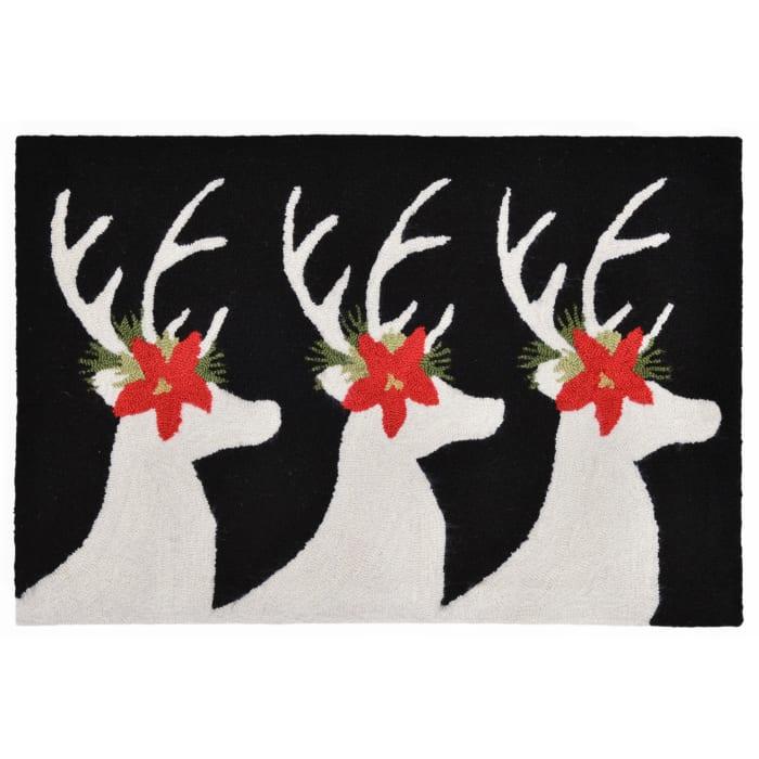 Reindeer Indoor/Outdoor Rug Black 3' x 2'