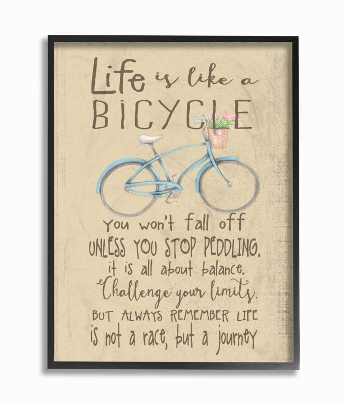 Bicycle Journey Framed Giclee Texturized Art, 11 x 1.5 x 14