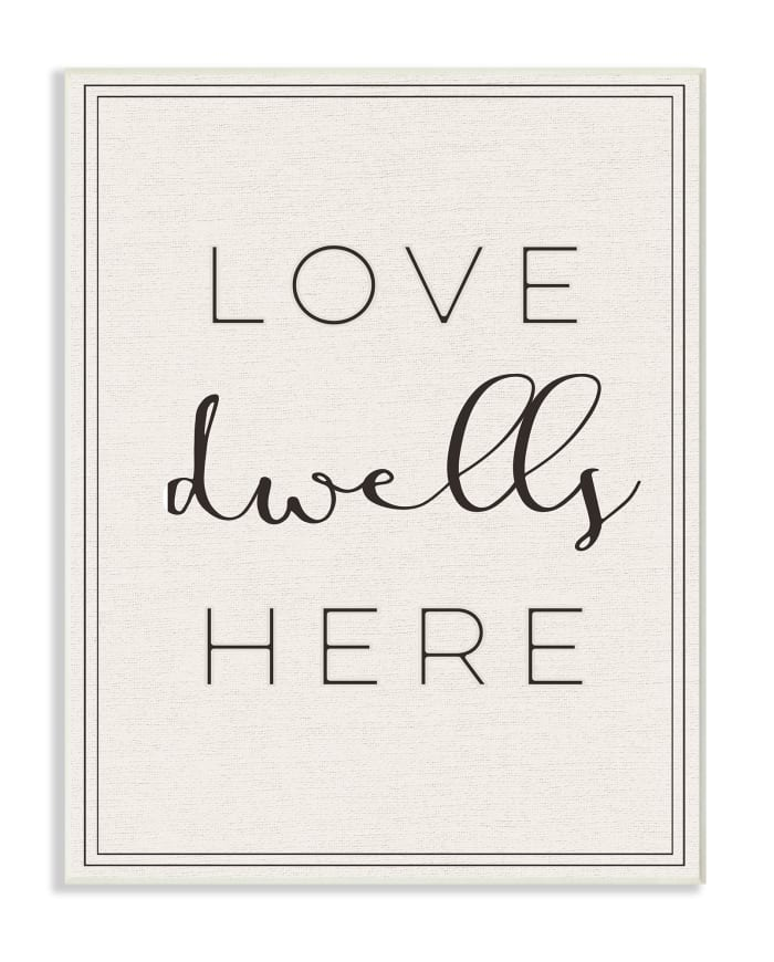 Love Here Typography  Wall Plaque Art 10 x 0.5 x 15, Proudly Made in USA
