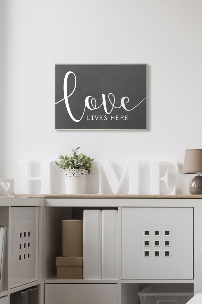Black and White Love Script Plaque Art, 13 x 0.5 x 19