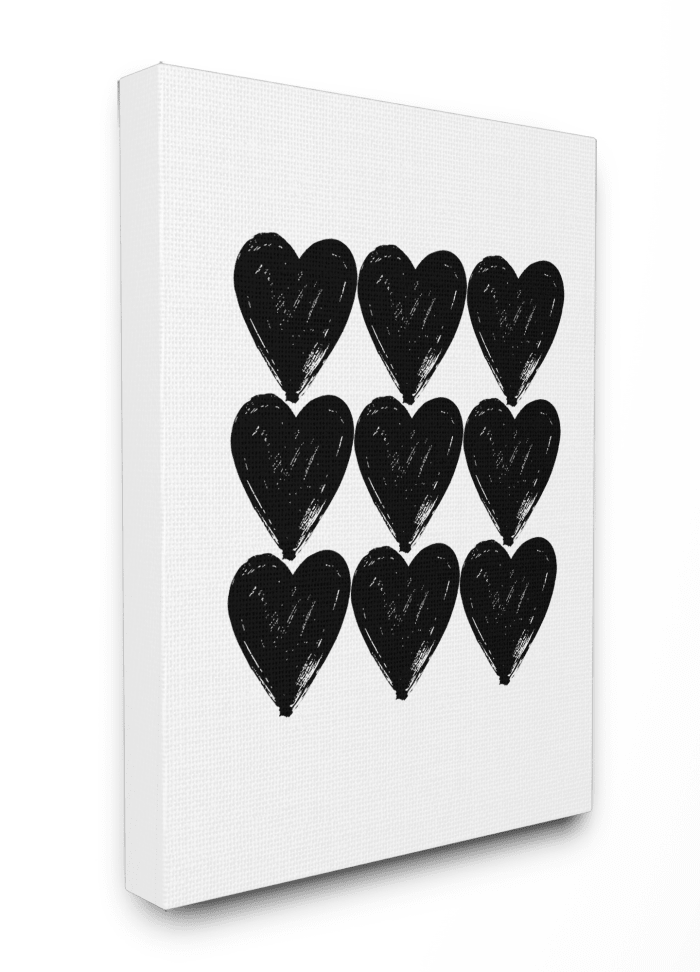 Black Hearts 30x40 Stretched Canvas