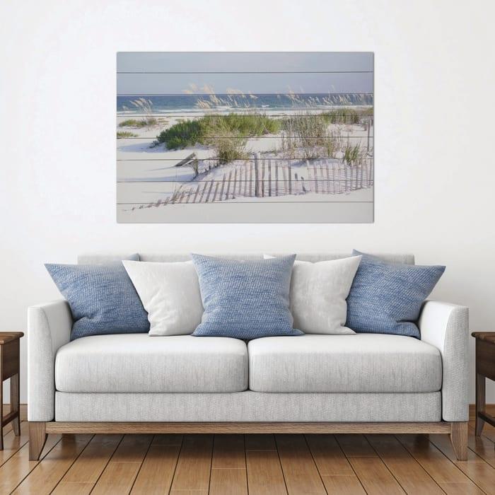 Beach Fence 24x36 Wood Wall Art