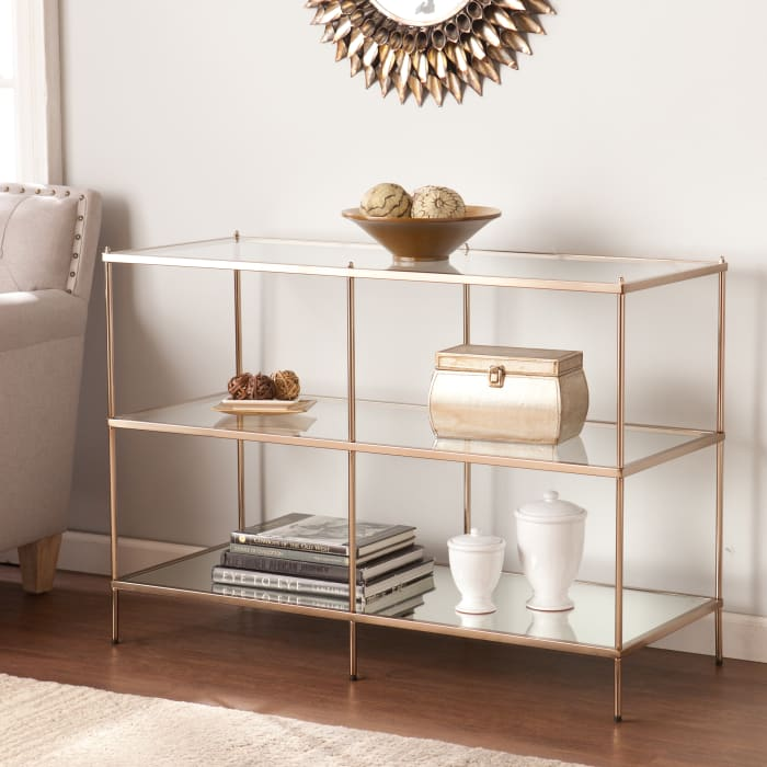 Modern Glam Gold and Glass Console Table