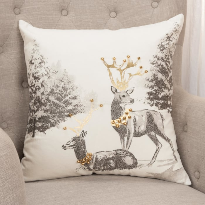 Gold and Silver Reindeer Square Pillow Cover
