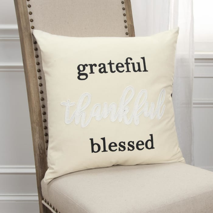 Grateful Thankful Blessed Natural Square Pillow Cover