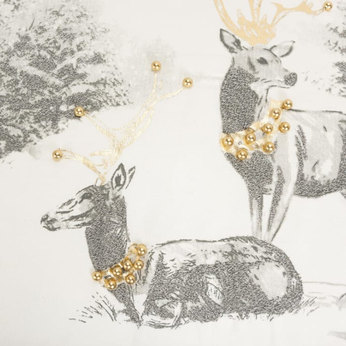 Gold and Silver Reindeer Square Pillow