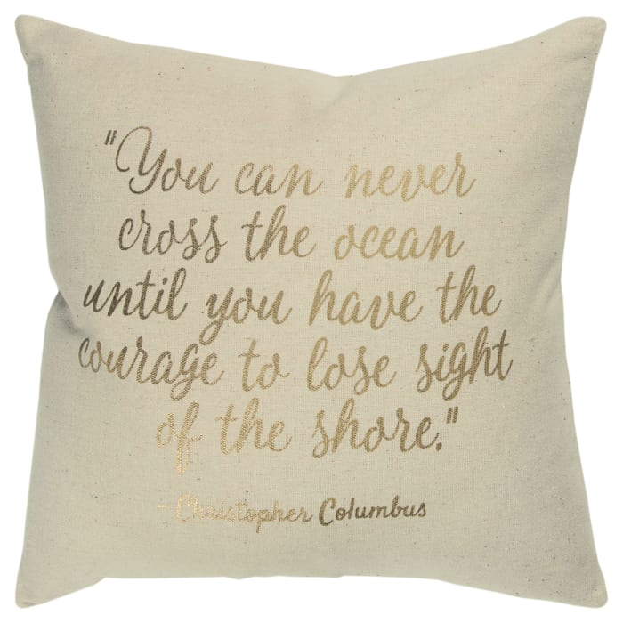 Ocean and Shore Quote Pillow Cover
