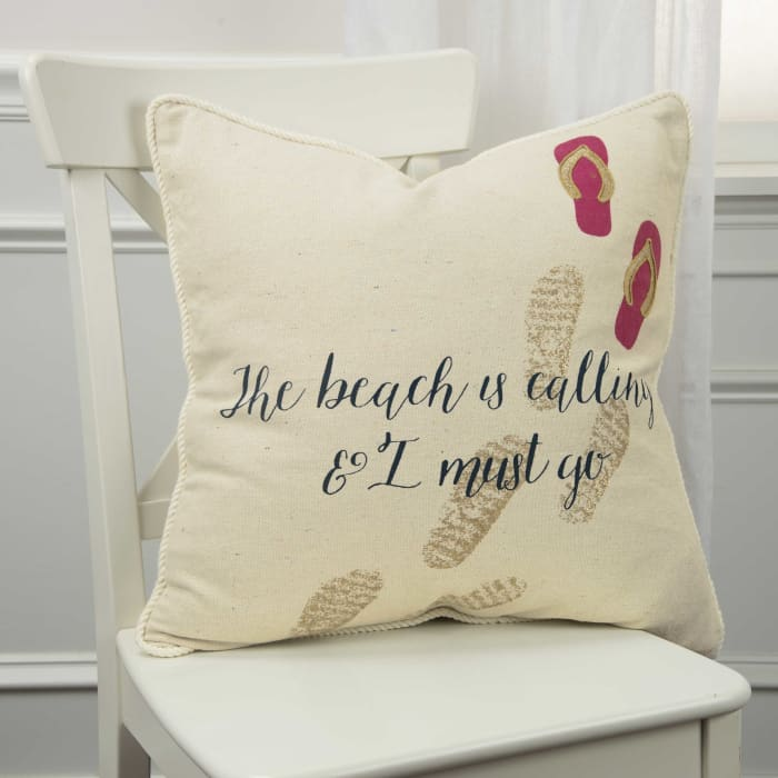 The Beach is Calling and I Must Go Square Pillow Cover