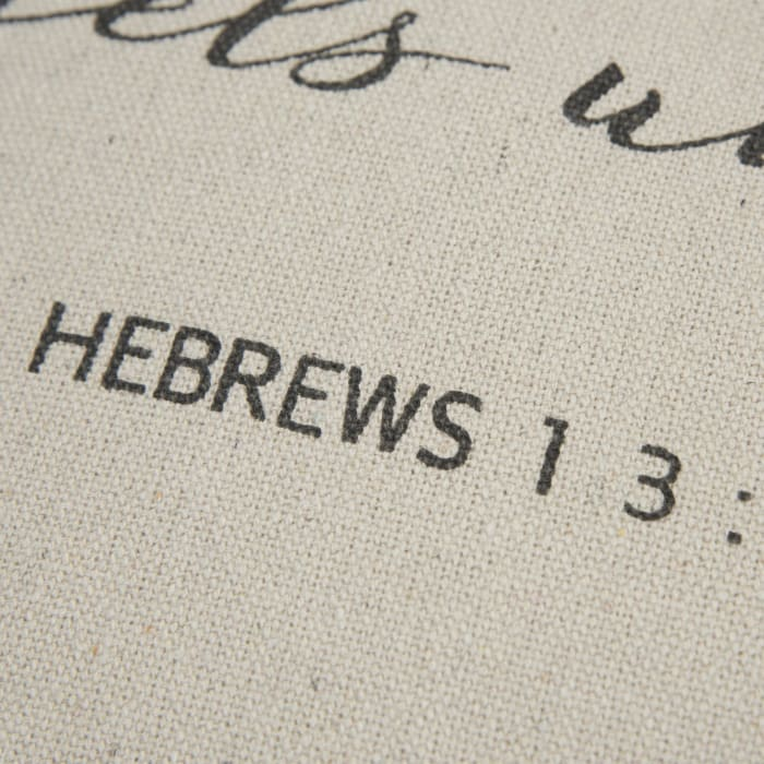 Hebrews 13:2 Script Square Pillow Cover