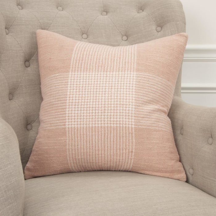 Light Pink and White Plaid Square Pillow Cover