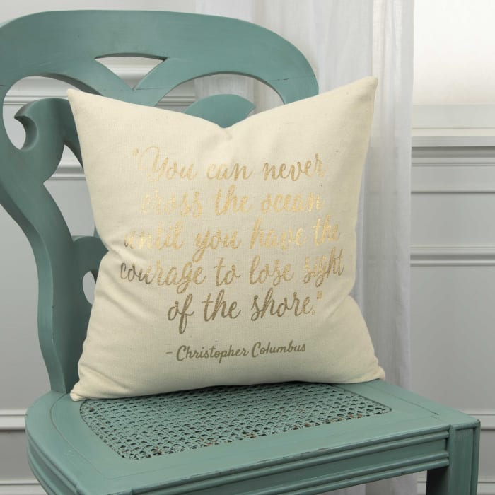 Ocean and Shore Quote Square Pillow