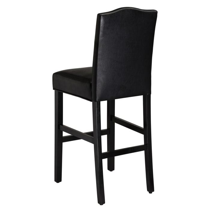 Black Leatherette Barstool Set of 2