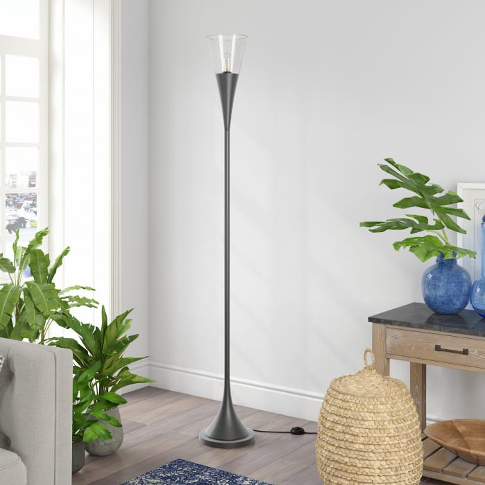 Moura Aged Steel Torchiere Floor Lamp