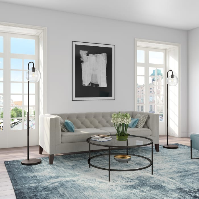 Harrison Blackened Bronze Arc Floor Lamp with Clear Glass Shade