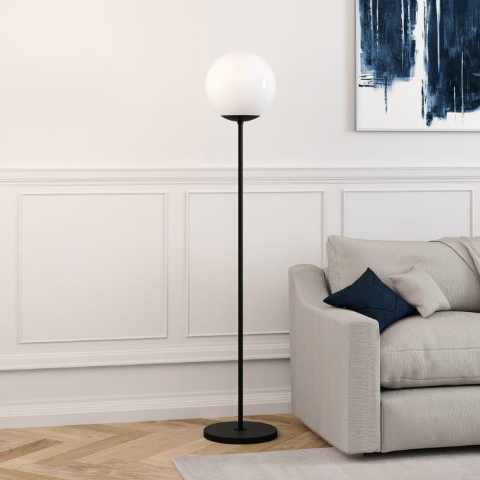 Theia Blackened Bronze Globe & Stem Floor Lamp