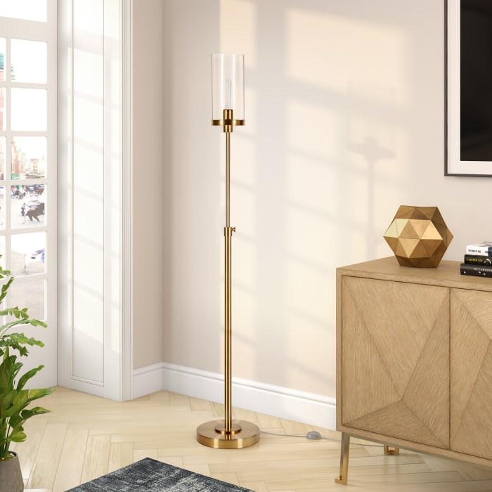 Frieda Brass Floor Lamp with Clear Glass Shade