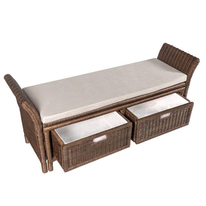 Rattan 2-Drawer Storage Bench Gray 52in
