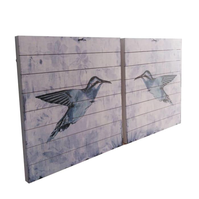 Blue Birds 24x24 Wood Wall Art Set of 2