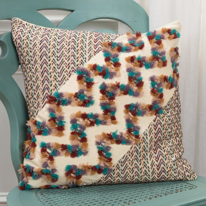 Vintage Chevron 100% Cotton Multi Colored Polyfilled Pillow