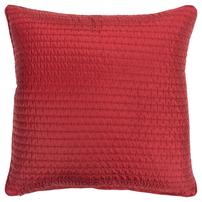 Solid 100% Polyester Deep Red Polyfilled Pillow
