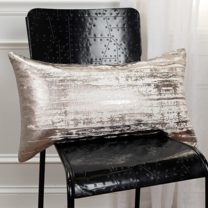 Brushstroke Ivory 100% Cotton Polyfilled Lumbar Pillow