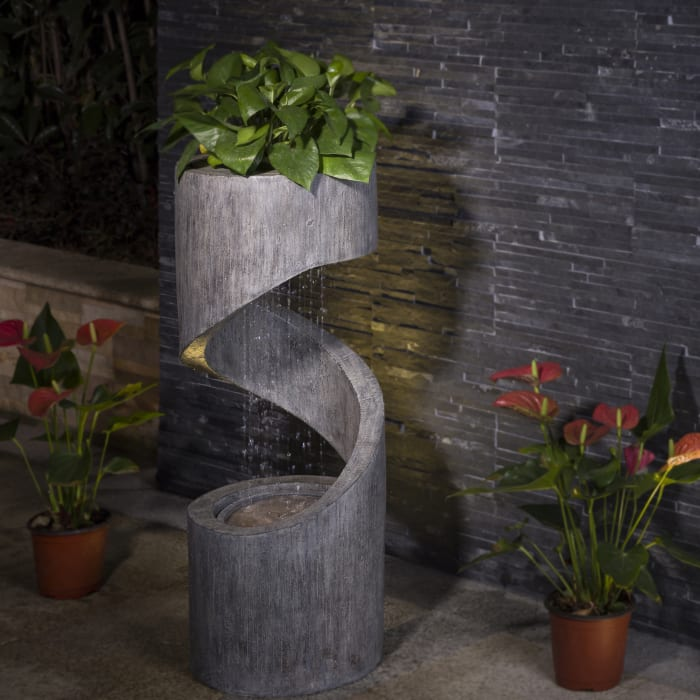 Stillness Polyresin Curving Shaped Fountain With Pump & LED Light 31.30