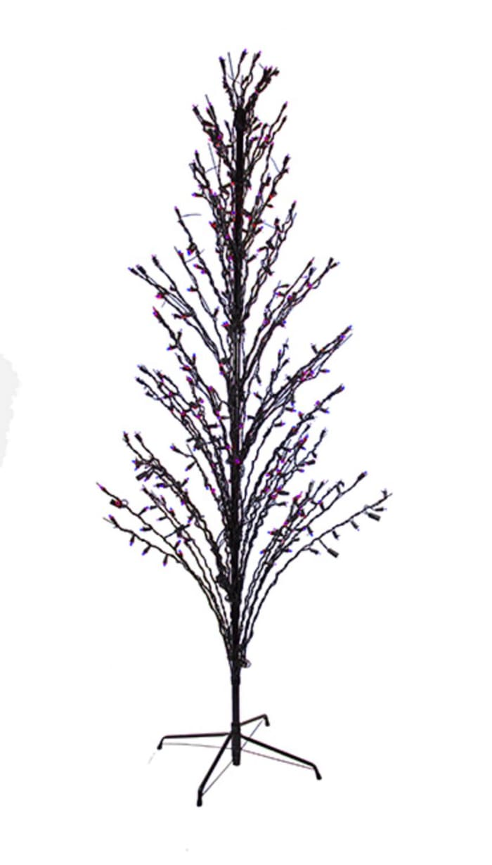 6' Purple LED Lighted Halloween Cascade Twig Tree Outdoor Yard Art Decoration