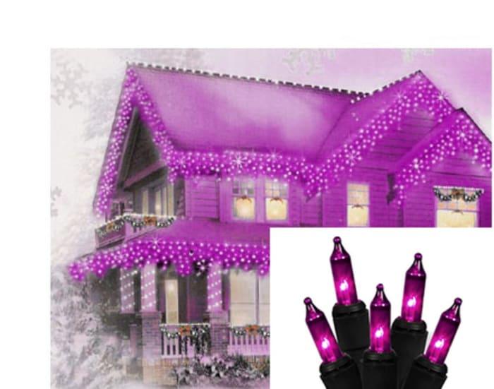 Set of 100 Purple Mini Icicle Halloween Lights - Black Wire