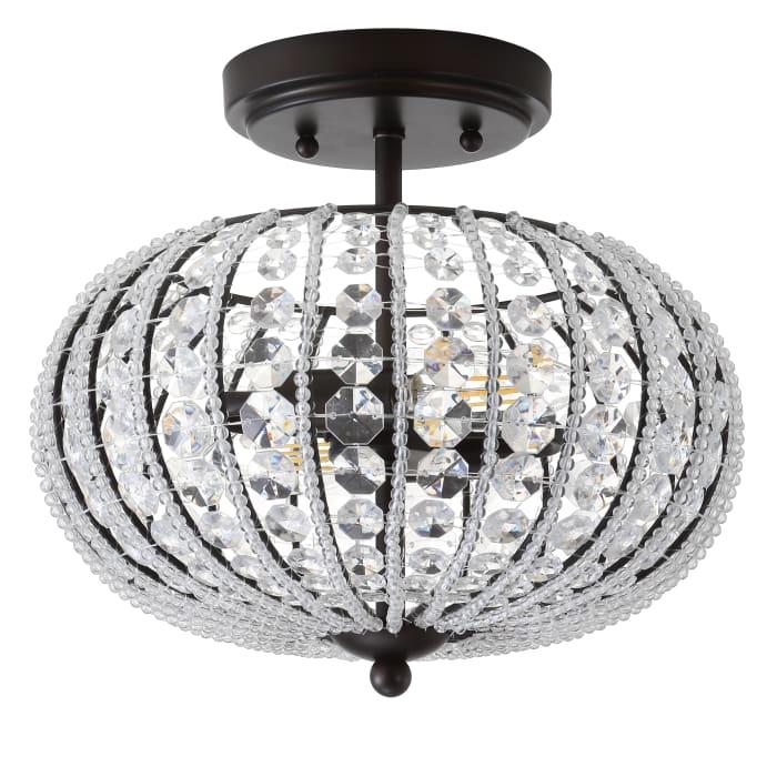 Metal /Acrylic LED Semi-Flush Mount, Oil Rubbed Bronze/Crystal