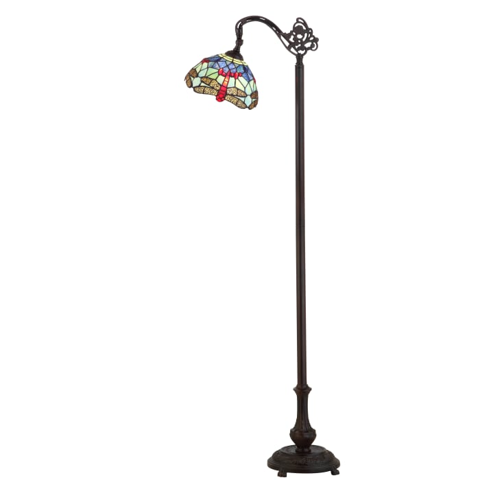 Dragonfly Tiffany-Style Arched LED Floor Lamp, Bronze