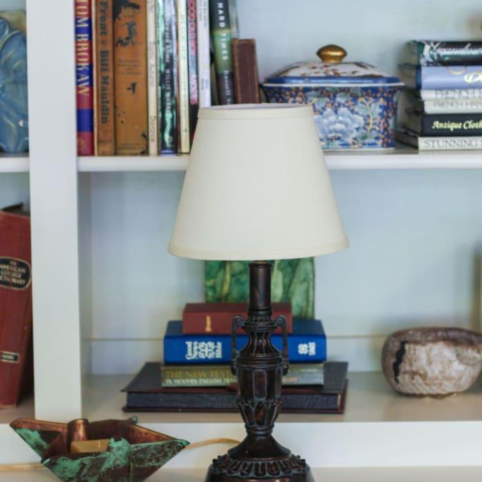 Slant Empire Hardback Lampshade with Bulb Clip, Egg