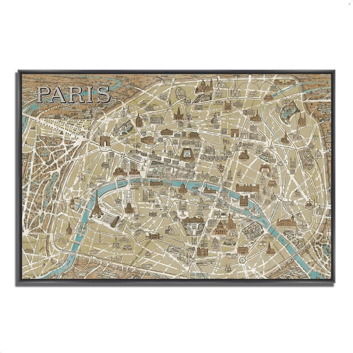 Fine Art Giclee Print on Gallery Wrap Canvas 32 In. x 22 In. Monuments of Paris Map by Wild Apple Portfolio Multi Color