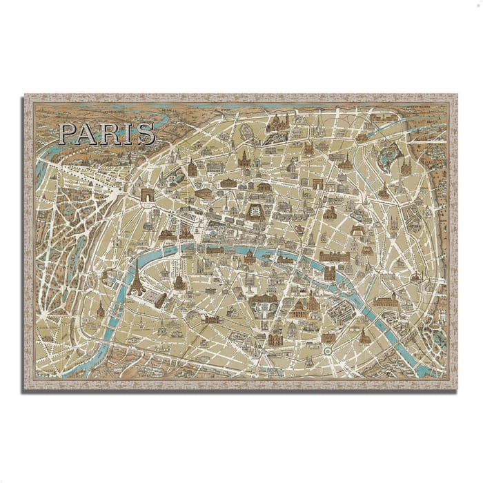 Fine Art Giclee Print on Gallery Wrap Canvas 38 In. x 26 In. Monuments of Paris Map by Wild Apple Portfolio Multi Color