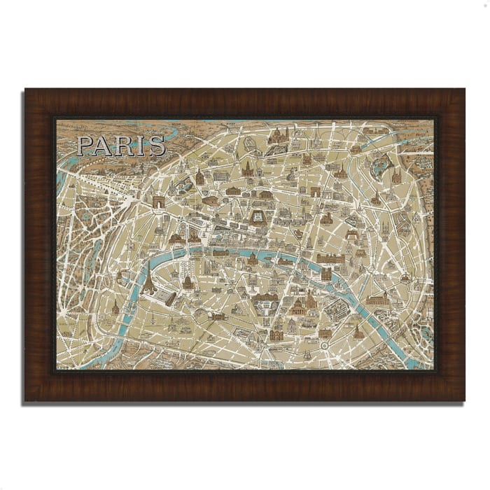 Framed Painting Print 42 In. x 30 In. Monuments of Paris Map by Wild Apple Portfolio Multi Color