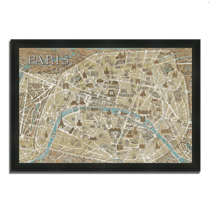 Framed Painting Print 60 In. x 41 In. Monuments of Paris Map by Wild Apple Portfolio Multi Color