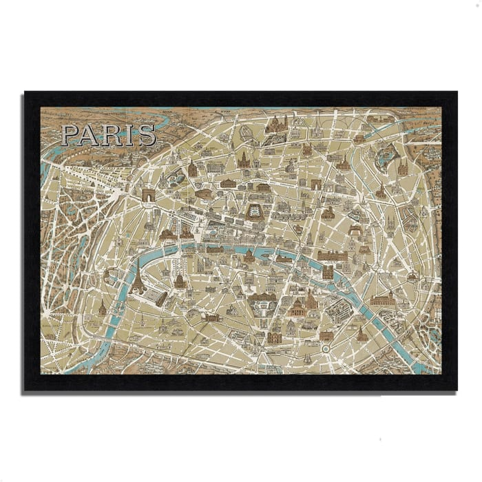 Framed Painting Print 39 In. x 27 In. Monuments of Paris Map by Wild Apple Portfolio Multi Color