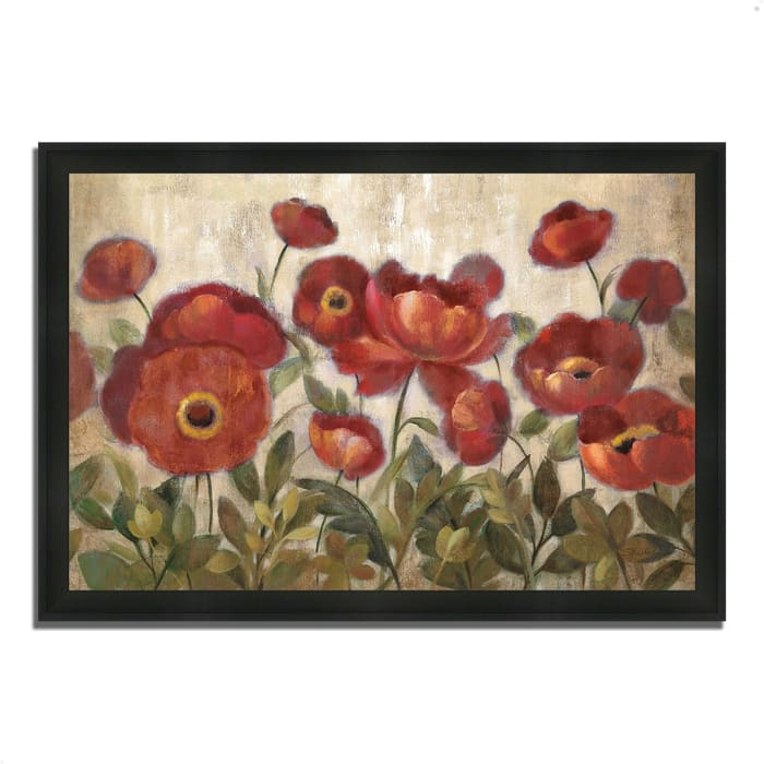 Framed Painting Print 46 In. x 33 In. Daydreaming Flowers by Silvia Vassileva Multi Color