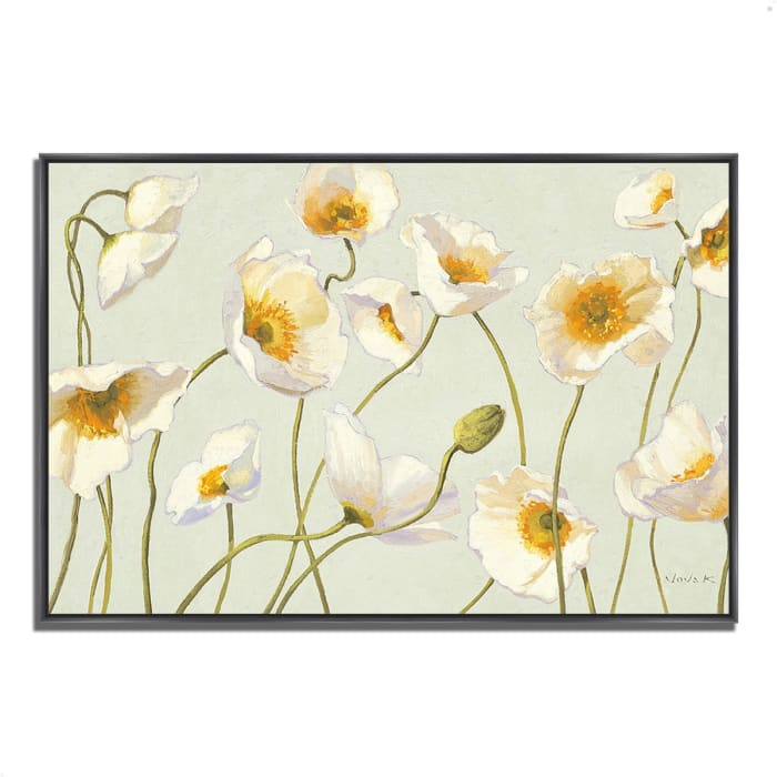 Fine Art Giclee Print on Gallery Wrap Canvas 32 In. x 22 In. White and Bright Poppies by Shirley Novak Multi Color