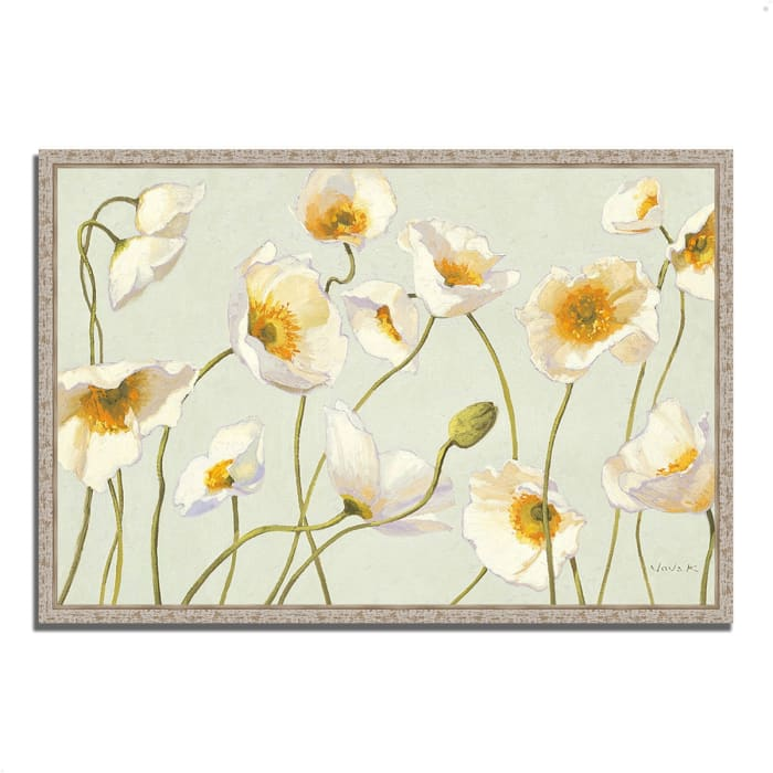 Fine Art Giclee Print on Gallery Wrap Canvas 38 In. x 26 In. White and Bright Poppies by Shirley Novak Multi Color