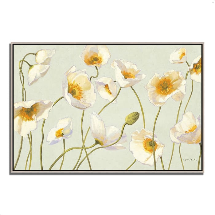 Fine Art Giclee Print on Gallery Wrap Canvas 59 In. x 40 In. White and Bright Poppies by Shirley Novak Multi Color
