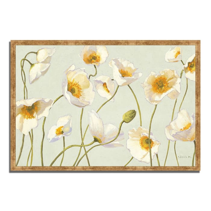 Framed Painting Print 47 In. x 32 In. White and Bright Poppies by Shirley Novak Multi Color