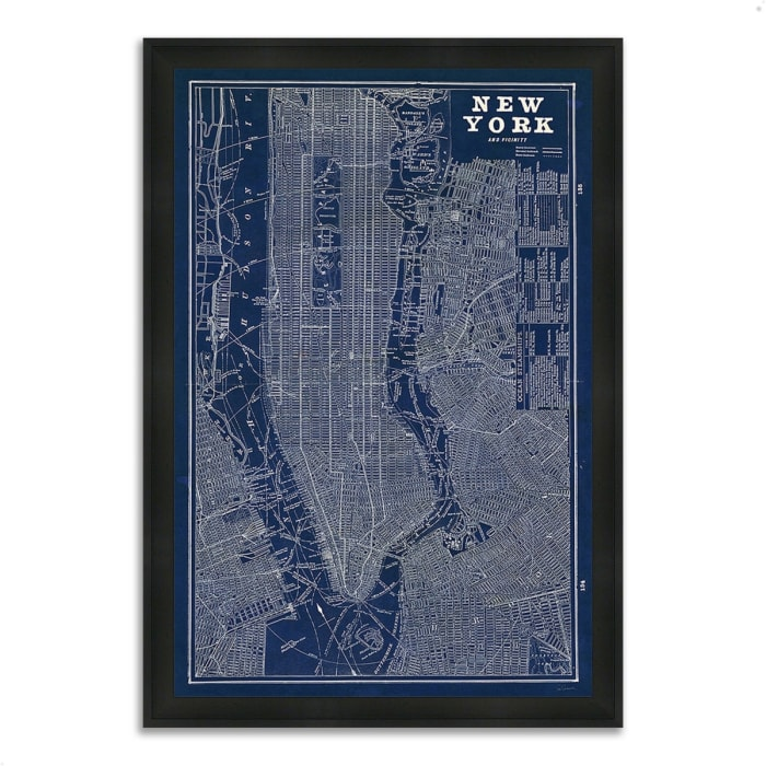 Framed Painting Print 27 In. x 39 In. Blueprint Map New York by Sue Schlabach Multi Color