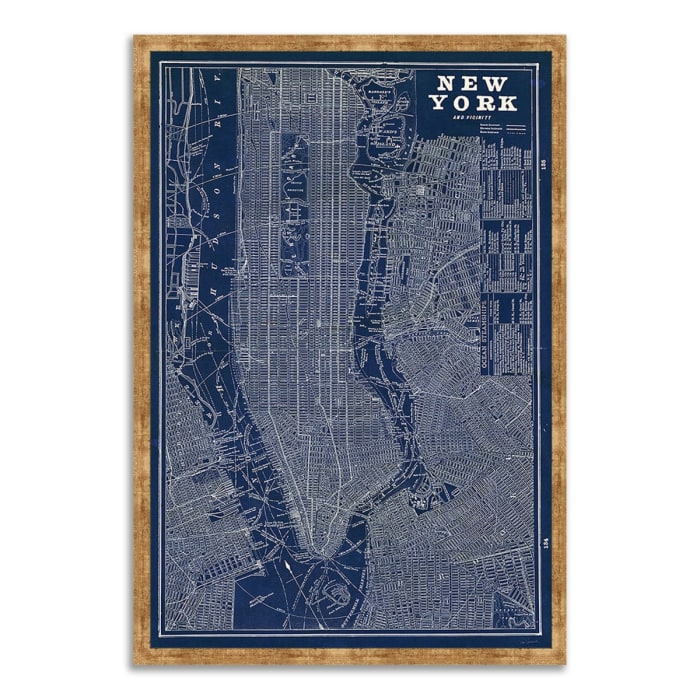 Framed Painting Print 40 In. x 59 In. Blueprint Map New York by Sue Schlabach Multi Color