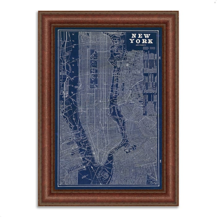 Framed Painting Print 37 In. x 52 In. Blueprint Map New York by Sue Schlabach Multi Color
