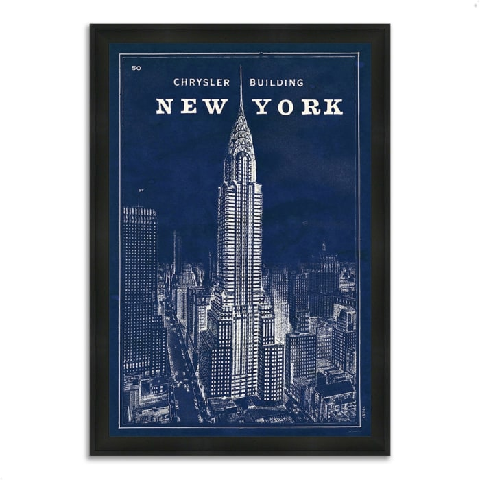 Framed Painting Print 23 In. x 33 In. Blueprint Map New York by Sue Schlabach Multi Color