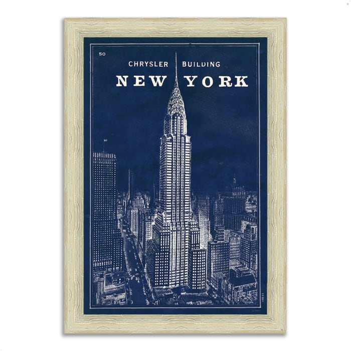 Framed Painting Print 30 In. x 42 In. Blueprint Map New York by Sue Schlabach Multi Color